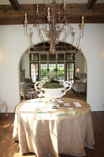 Dining room table and light fixture