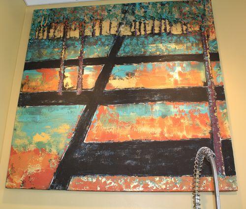 Art over sink in studio