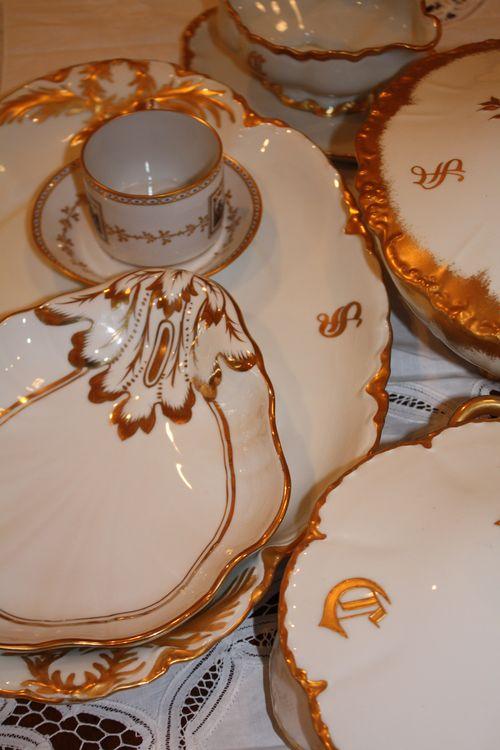 White and gold china