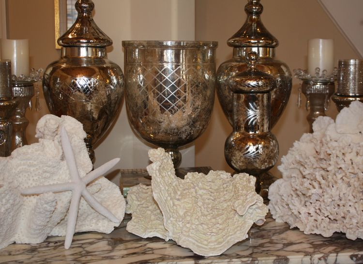 White coral and merc glass on table
