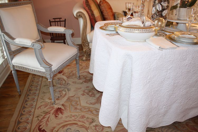 I Am Usually Not A Tablecloth Person And Prefer Placemats, But In This  Case, I Wanted To Cover The Entire Table In White. The Quilt Has A Very  French Boutis ...