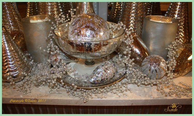 Silver table close up