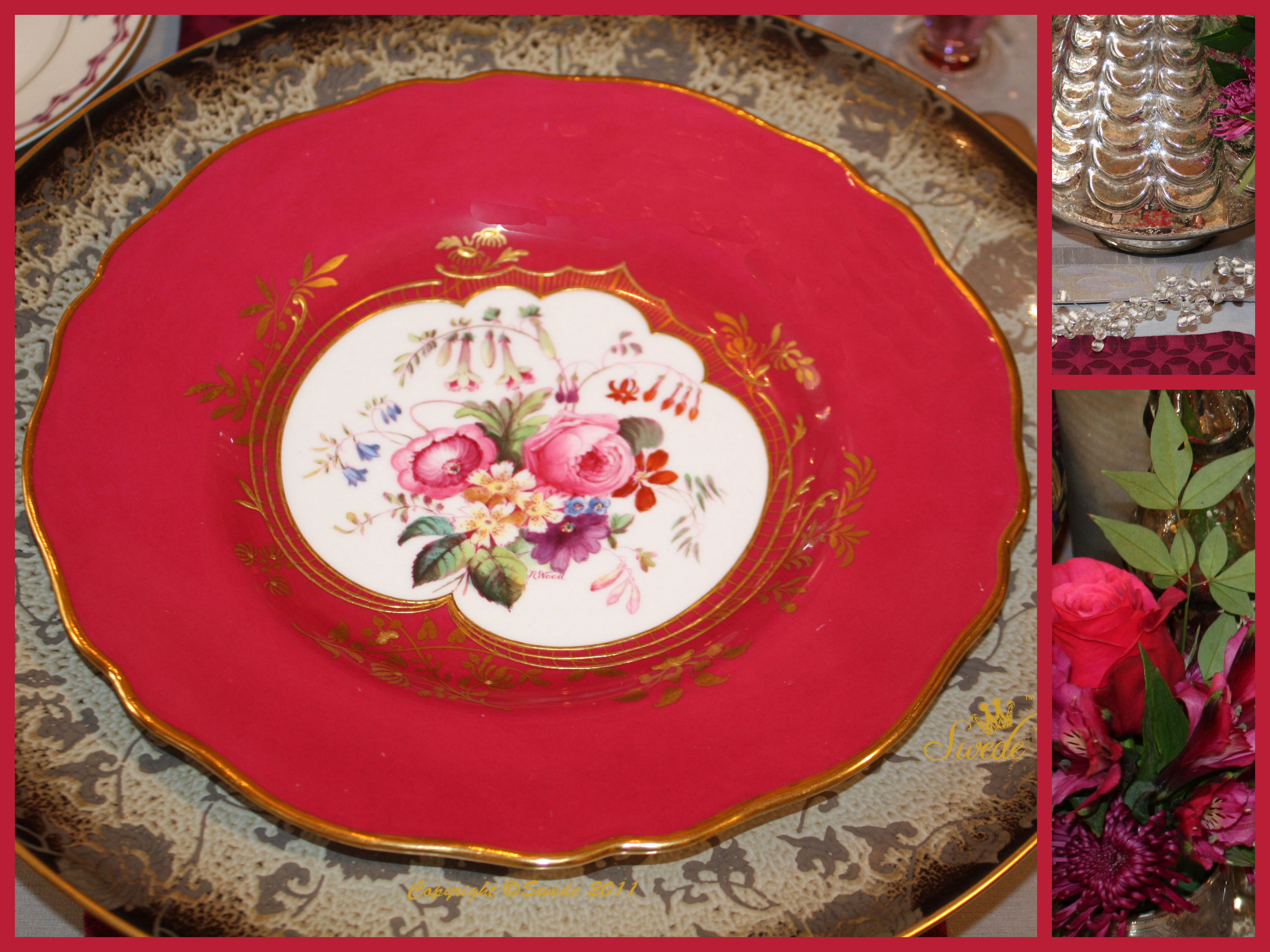 The Spode Copeland plates are a perfect match to the red Roses in the antique baby cups. & Tablescape: Cranberry and Magenta - Swede