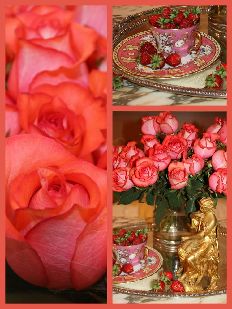 Pink rose collage two
