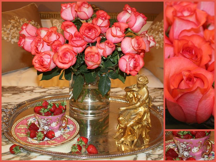 Pink roses collage three