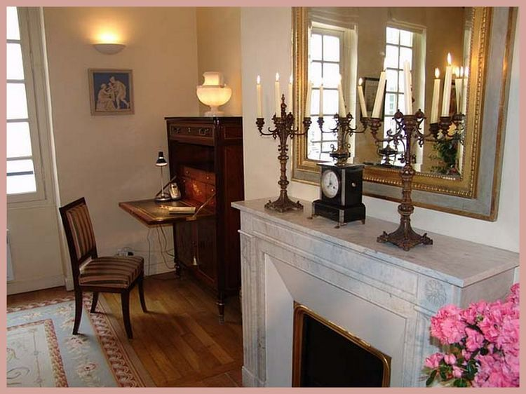 Marble fireplace and desk