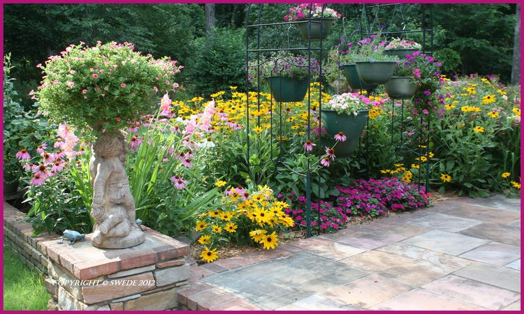 View of flowerbed by little patiologo