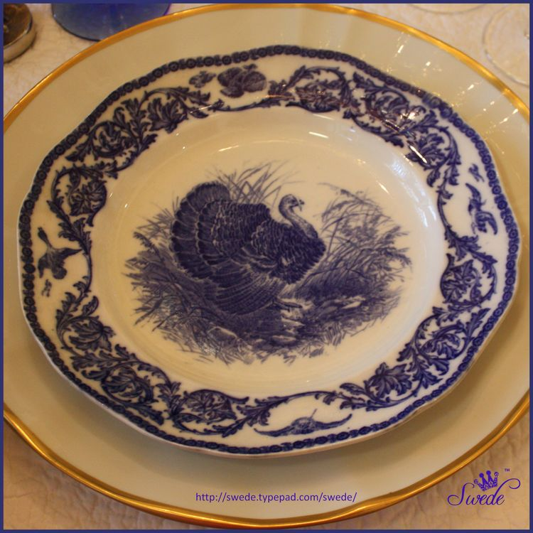 Cauldon blue turkey plate borderlogo