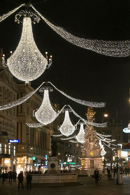 Eurpoean city street with holiday lights