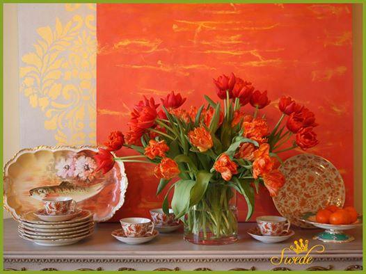 Orange parrot tulips