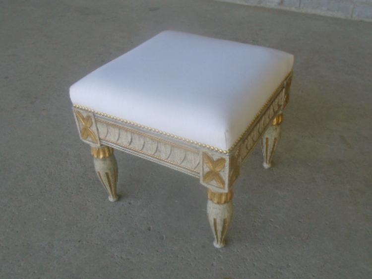 Grey stool white fabric gold leaf
