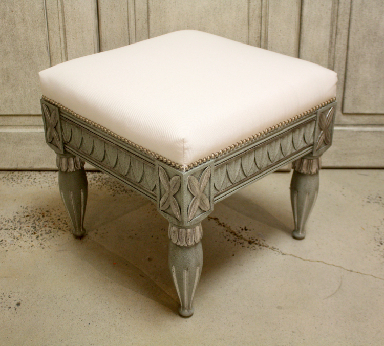 Gustavian Stool Silvermist with Italian Silver Leaf Finish