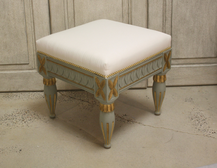 Gustavian Stool Textured Acacia with Italian Gold Leaf Finish
