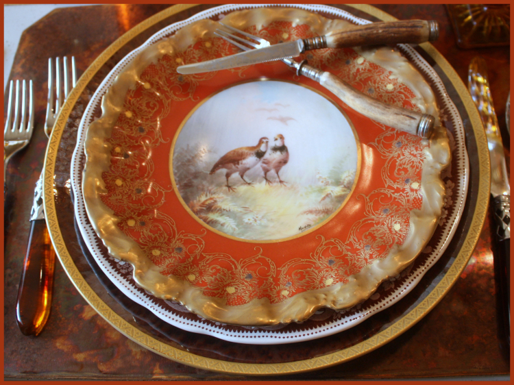 Antique French Game Plates and Antique German Bone Handled Ware