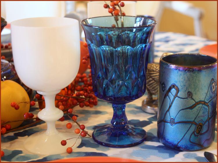 Blue and white stemware