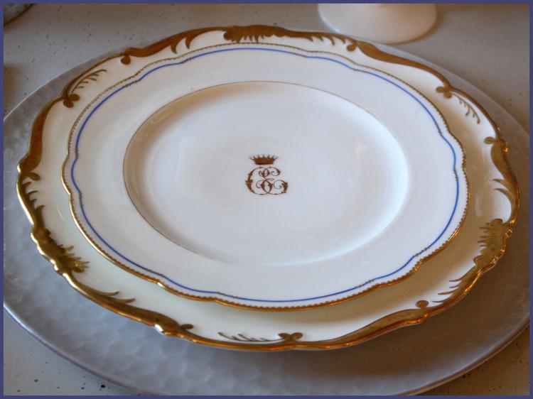 Antique Cauldon plates with crown