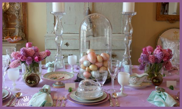 Tablescape Aqua And Orchid For Easter Swede