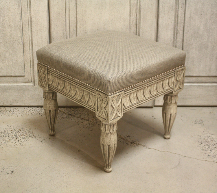 Gustavian Stool Textured Grey 1 Finish Lee Jofa Fabric