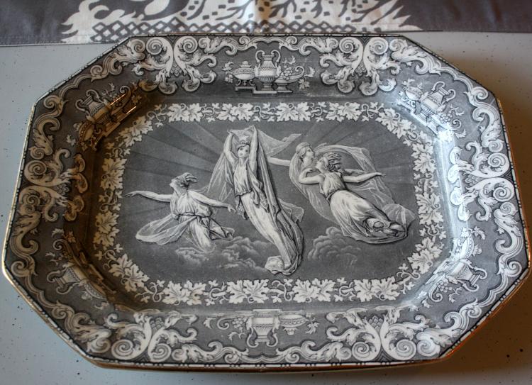 English transferware platter made in 1849 named Morning