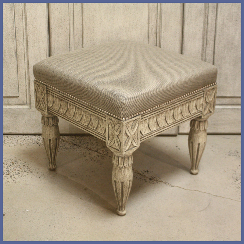 SC044 Swedish Stool Grey Finish with Lee Jofa Grey Fabric