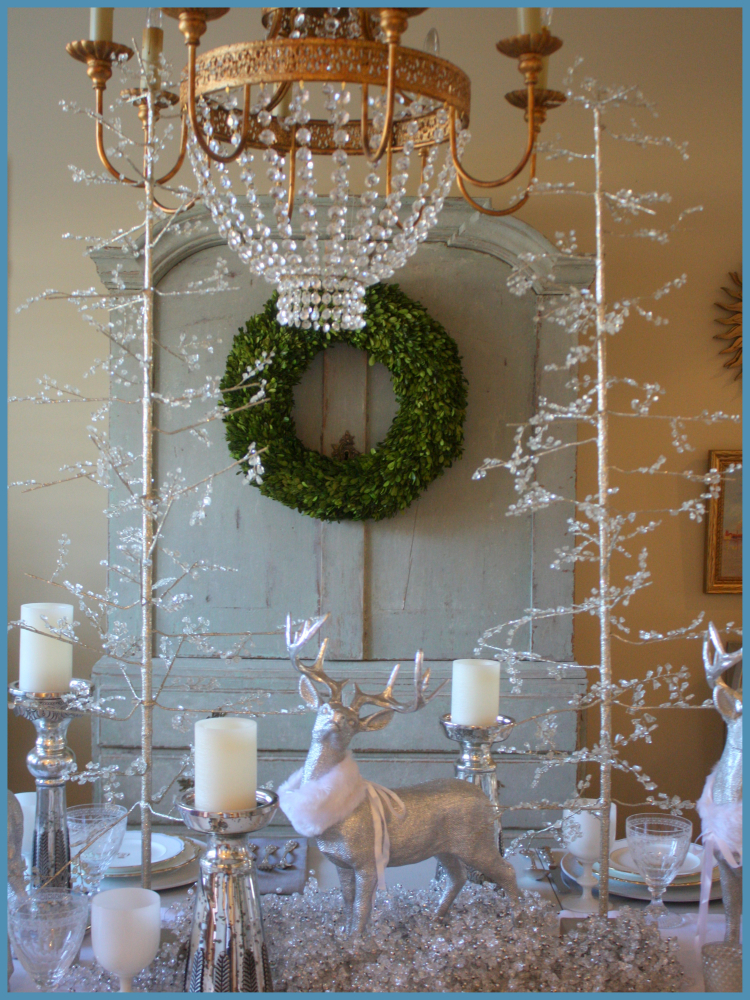 Winter Table Swede Collection with Beaded Trees