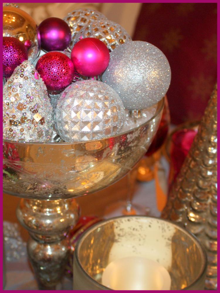 Magenta in mercury glass bowl