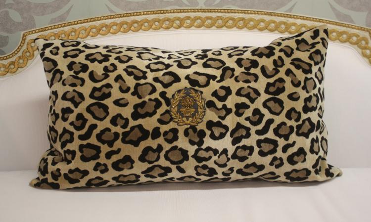 Leopard Velvet Pillow with Napoleon Bee Embellishment 18 x 30