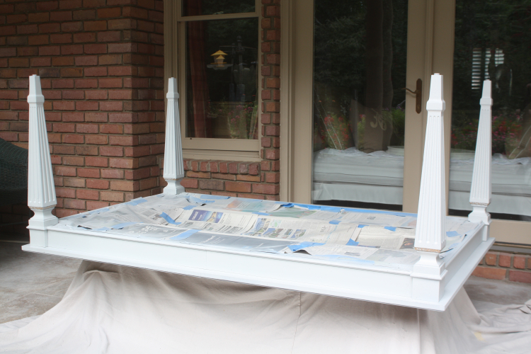 Painting bargain table on back porch