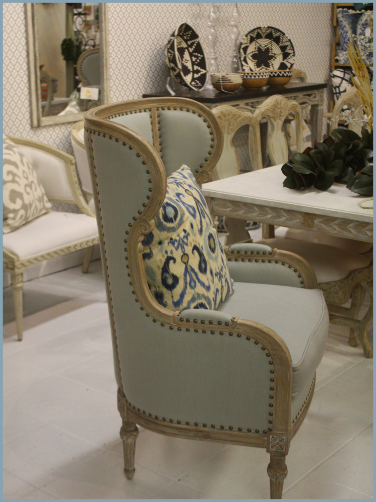 Spa Blue Nailhead Wing Chair Used at Dining Host Position