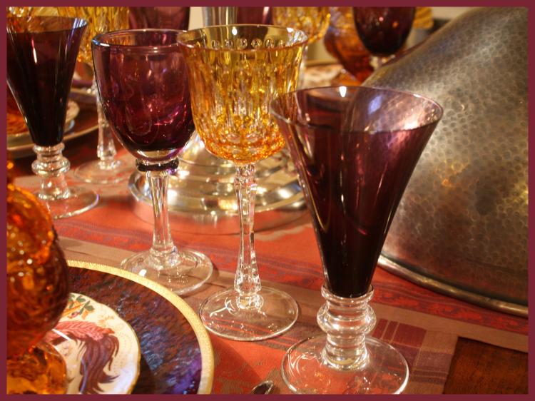 Amber and purple stemware