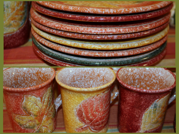 Fall colored plates and mugs for breakfast