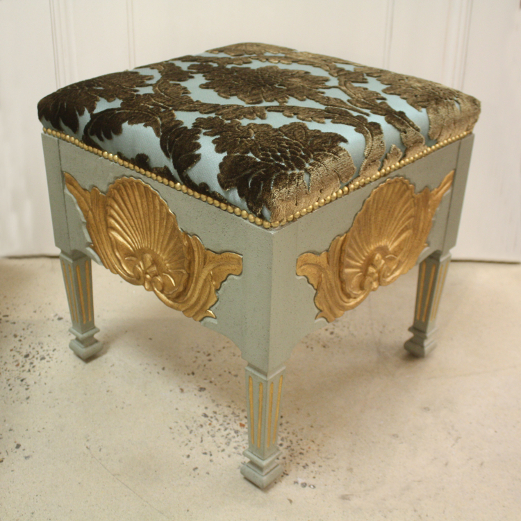 SC048 Shell Stool Acacia with Gold Leaf Teal Italian Velvet