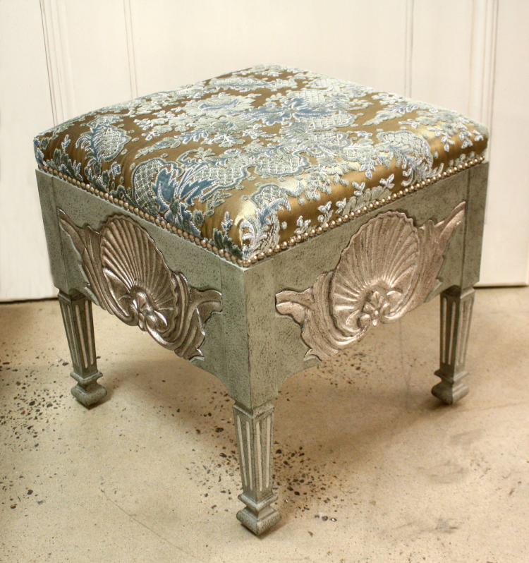 SC048 Shell Stool Silvermist with Silver Leaf Blue Grey Italian Cut Velvet