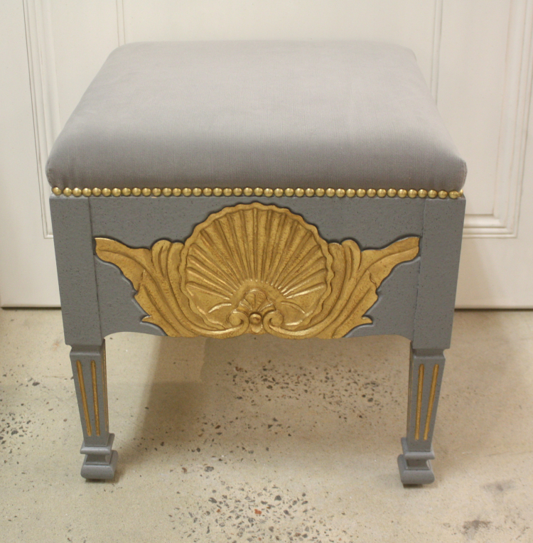 SC048 Shell Stool Grey Front Facing