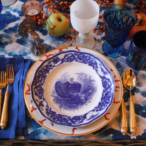 Blue white turkey plate